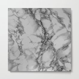 Gray and Black Marble Metal Print
