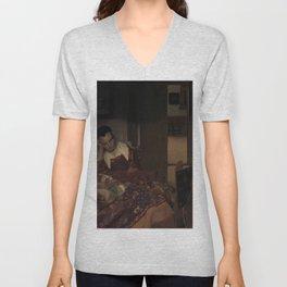 """Johannes Vermeer """"A Woman Asleep at Table"""" Unisex V-Neck"""