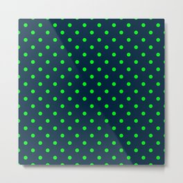 Navy and Neon Lime Green Polka Dots Metal Print