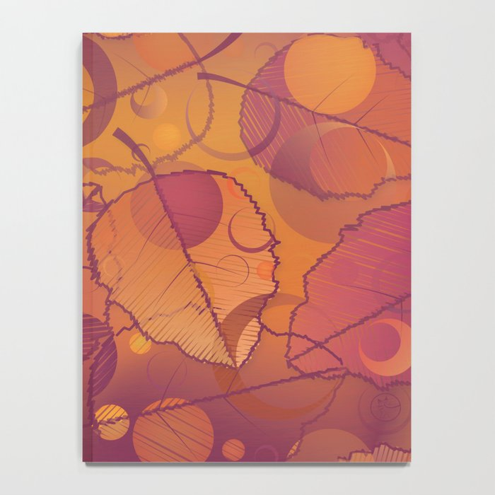 Floating Leaves Pattern III - Autumn, Pink Violet Notebook
