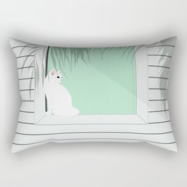 Mint and cat Rectangular Pillow