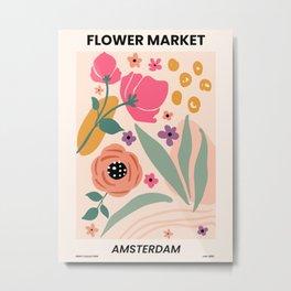 Flower Market Print Amsterdam, Abstract Flower Poster Metal Print