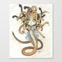 magic the gathering Canvas Prints featuring Snake Token - Magic the Gathering - Pharika by Deadlance