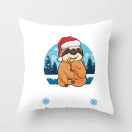 Cute & Funny Slothing Through The Snow Christmas Throw Pillow