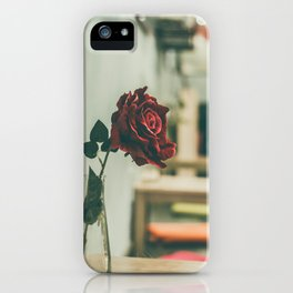 red-rose-on-clear-glass-vase iPhone Case