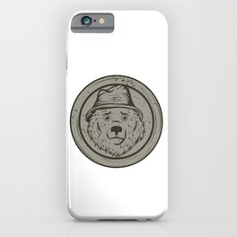 Cool Gift For The Smokey Bear Fan In Your Life T-shirt Design Of A Bear Wearing A Hat In Gray Tone iPhone Case