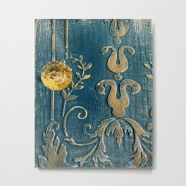 Original Art - A Piece of Versailles Blue & Gold Gilding Art Block Metal Print