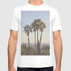 L.A. MEDIUM White Mens Fitted Tee