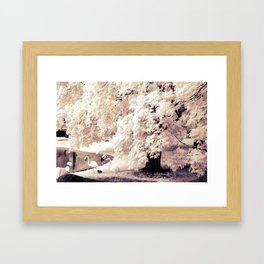 Infrared Trees Nature Landscape With Flamingos Framed Art Print