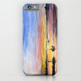 Beautiful Sunset Watercolor Painting iPhone Case