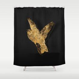 Gold Fauna on Black Shower Curtain