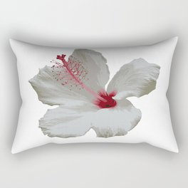 Pure White Hibiscus Tropical Flower Rectangular Pillow