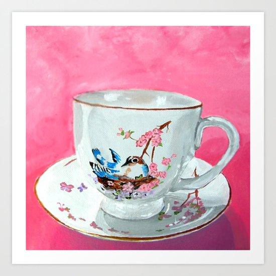 Bird on Teacup Art Print