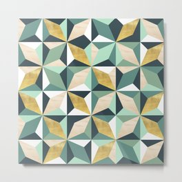 Geometric Pattern with Gold, Natural Wood and Greens Metal Print