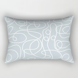 Doodle Line Art | White Lines on Silvery Blue Rectangular Pillow