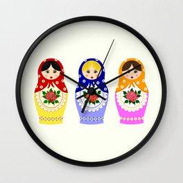Russian matryoshka nesting dolls Wall Clock