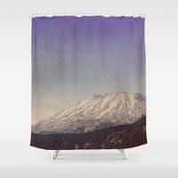 mountain Shower Curtains featuring Mountain by Leah Flores