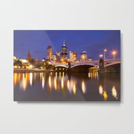 II - Skyline of Melbourne, Australia across the Yarra River at night Metal Print