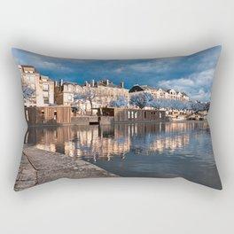 Nantes Riverside Scenery - Winter Blue Fantasy Rectangular Pillow