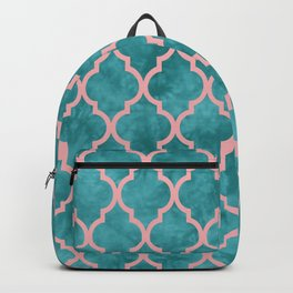 Classic Quatrefoil Lattice Pattern 910 Turquoise and Pink Backpack