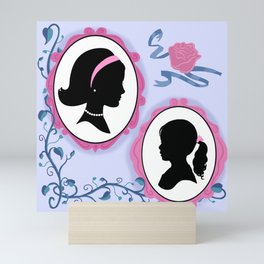 Vintage Look Fairytale Mother And Daughter Silhouette Portraits Mini Art Print