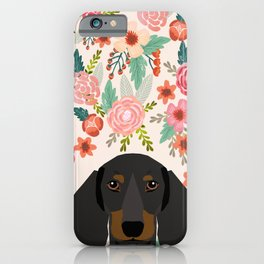 Dachshund floral dog head cute doxie must have pure breed weener dog gifts iPhone Case