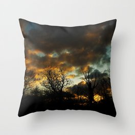 Moody Sunset Throw Pillow