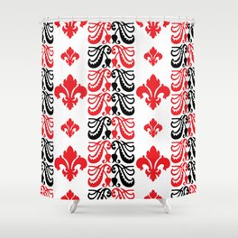 Fluer de Lis Custom Red Shower Curtain