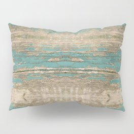 Rustic Wood - Beautiful Weathered Wooden Plank - knotty wood weathered turquoise paint Pillow Sham