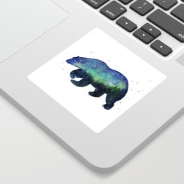 Polar Bear Silhouette with Northern Lights Galaxy Sticker
