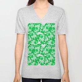 Monstera Watercolor Toss in Bright Green Unisex V-Neck