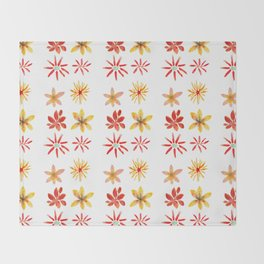 Six Flowers collection - coral yellow palette Throw Blanket