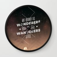 geology Wall Clocks featuring Wanderers - MSL/Curiosity Commemoration Print by vondell