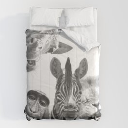 Black and White Jungle Animal Friends Comforters