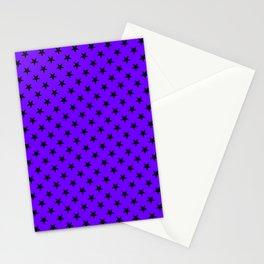 Black on Indigo Violet Stars Stationery Cards