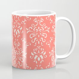 Decorative Pattern in Living Coral and White Coffee Mug