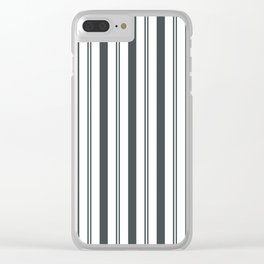 PPG Night Watch Pewter Green & White Wide & Narrow Vertical Lines Stripe Pattern Clear iPhone Case
