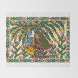 Radha Krishna Madhubani Throw Blanket