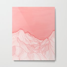 Lines in the mountains - pink Metal Print