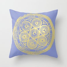 flower power: variations in periwinkle & gold Throw Pillow