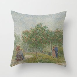 Garden with Courting Couples: Square Saint-Pierre Throw Pillow