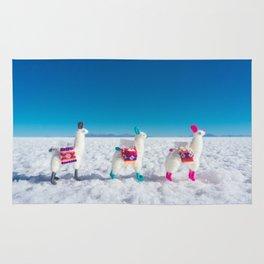 Llamas on the Bolivia Salt Flats Rug