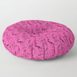Vintage Museum Animals | Dinosaurs &  Skeletons on Pink | Surface Pattern Repeat Floor Pillow