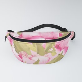 Pink Peonies on a pink background - #Sociey6 #buyart Fanny Pack