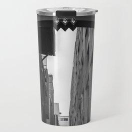 Post Alley in Seattle Washington - Black and White Travel Mug