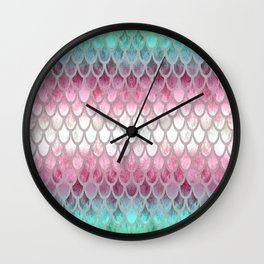 Pretty Mermaid Scales 20 Wall Clock