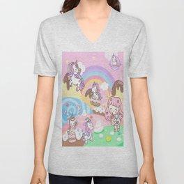 Unicorn Party in Candyland Unisex V-Neck