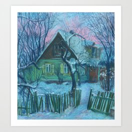 Old House in Shnipishkes, Rural Winter Landscape, Pastel Painting  Art Print