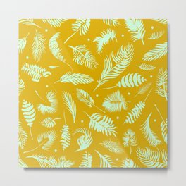 Golden palm pattern with bright mint color Metal Print