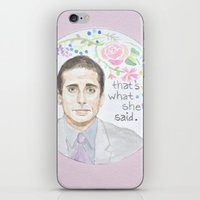 michael scott iPhone & iPod Skins featuring Michael Scott: That's What She Said by Brenna Daugherty